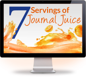 Image of computer screen - sign up for 7 servings of journal juice to boost your journal writing