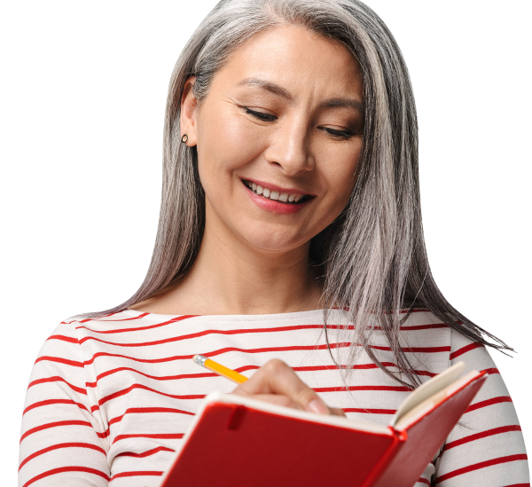Picture of Smiling Woman Journal Writing 1